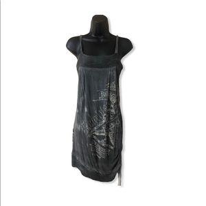 Salvage Lace up Acid Wash t-shirt dress